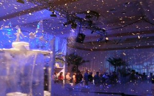 party with snow indoors